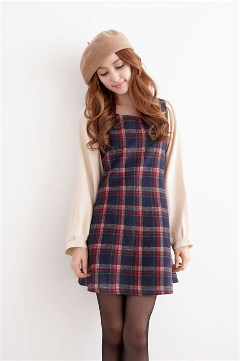 pattern korean dress yoco womens plaid pattern long sleeve dress japanese