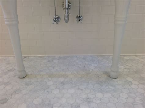 Marble Tile Bathroom Floor Small Or Larger Hexagon Tile In 1920 Bathroom