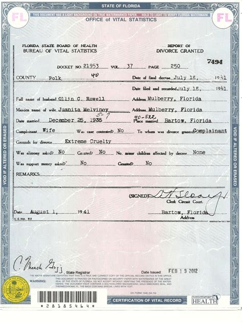 Florida Marriage Records Florida Birth Certificate Record Marriage License