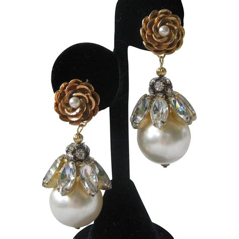 Big Chandelier Earrings Vendome Large Pearls Rhinestones Chandelier Earrings