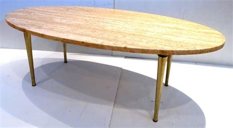 Mid Century Modern Coffee Table Legs Mid Century Modern Marble And Brass Tapered Legs Oval Coffee Table At 1stdibs