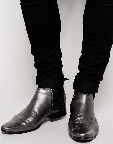 asos chelsea boots mens asos chelsea boots in metallic leather in metallic for