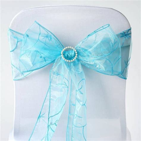turquoise leaf motif embroidered chair sash efavormart