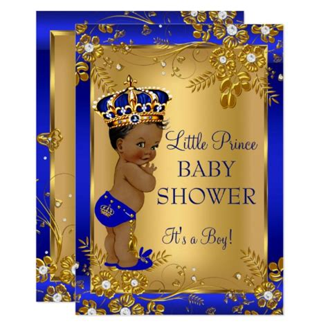 Black And Blue Baby Shower by Prince Boy Baby Shower Gold Blue American Card