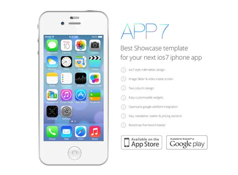 Ios 7 App Landing Template Psd Freebie Ios App Templates