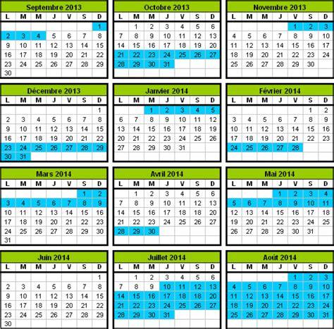 Calendrier Vacances Scolaires 2014 Calendrier Scolaire 2013 2014