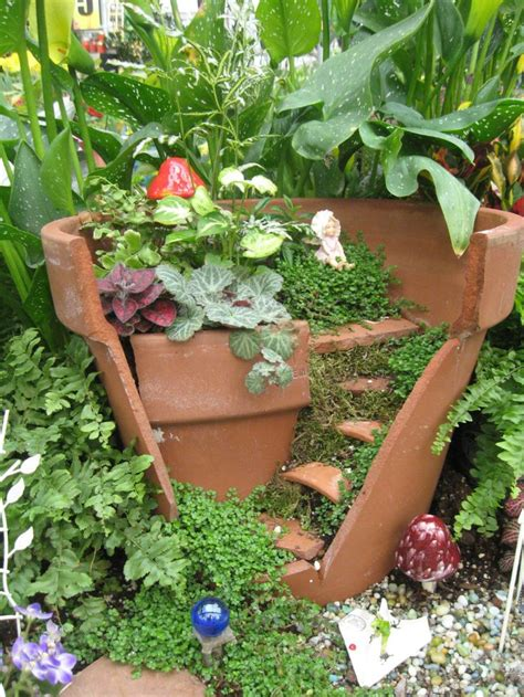 74 Best Broken Pot Fairy Gardens Images On Pinterest Garden Flower Pot
