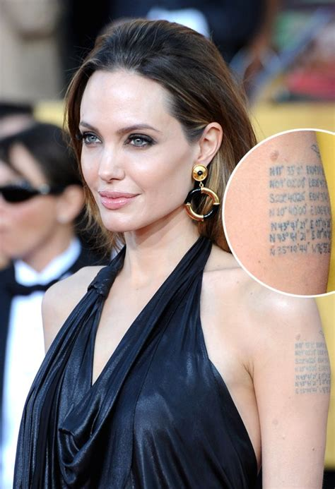 angelina jolie arm tattoo coordinates angelina jolie s map coordinates left arm tattoo tattoomagz
