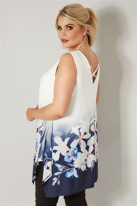 best of swing ivory blue floral cross back swing top plus size 16 to 36