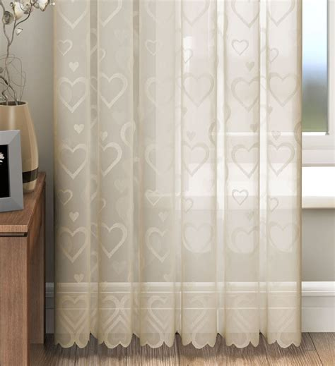 heart curtains love hearts lace slot top sheer voile rod pocket window