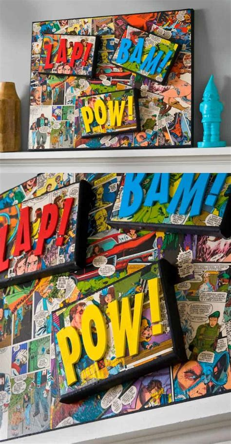 perfect gift for comic book fan comic book craft diy superhero canvas mod podge rocks