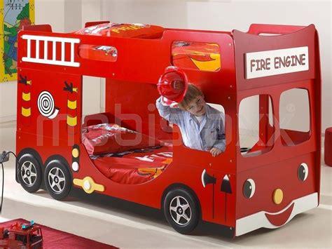 lit superpos 233 camion de pompier 90x200 cm chez mobistoxx