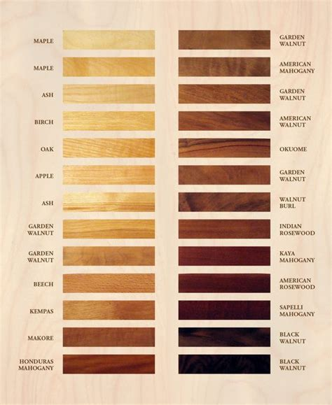 Woods L Color Chart by Wood Colors Color Charts And Woods On