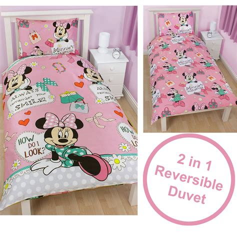 Bed Cover Minnie Ribbon Import minnie mouse makeover duvet cover children bedding white pink single bed set ebay