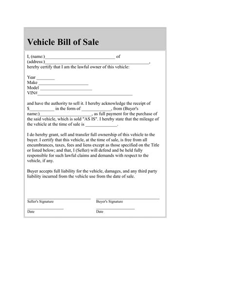 auto bill of sale template used car bill of sale template free