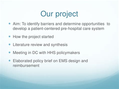 Project Brief Literature Review by Designing A Patient Centered Ems System Barriers And Opportunities