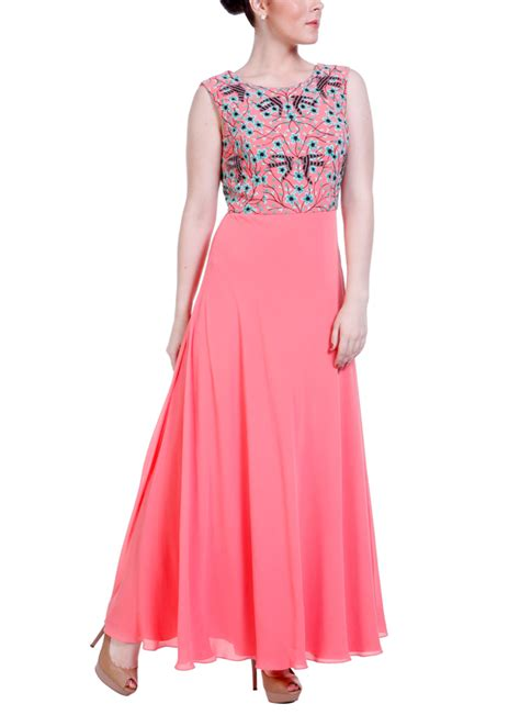boat neck indian dress hirika jagani coral boat neck gown shop gowns at