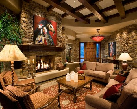 rustic western living room decor with wall