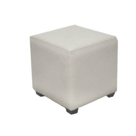 White Leather Cube Stool by Exhibition White Leather Cube Stool Hire Eventex