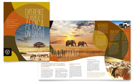 travel brochure templates free safari brochure template design