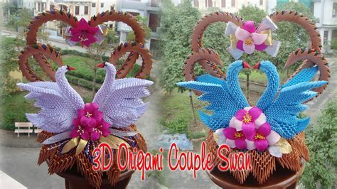 3D ORIGAMI COUPLE SWAN   PAPER SWAN WEDDING DECORATION
