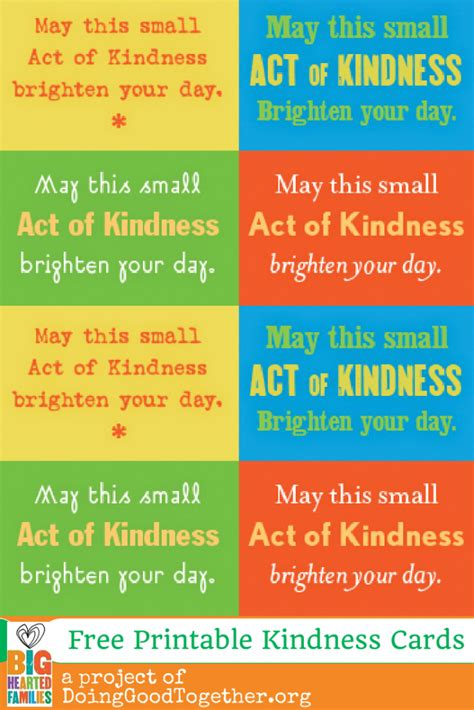 random acts of kindness cards templates printable kindness cards from doinggoodtogether org big