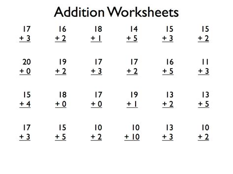 pdf free printable addition worksheets grade 1