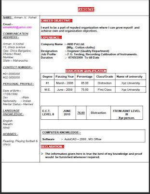 resume format in marathi fresh and free resume sles for free resume for fresh quality engineer