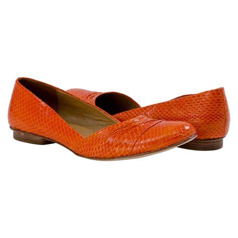 orange flat shoes for arlene snake skin flats orange paolo shoes
