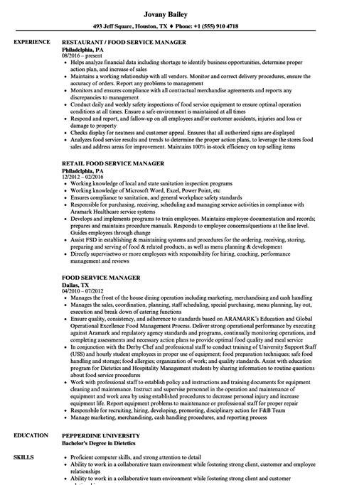 food service resume districte15 info