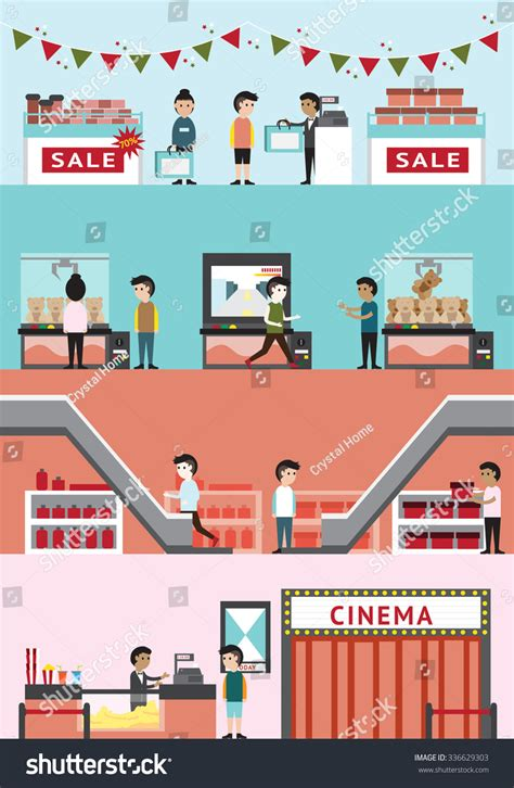 store layout vector cartoon department store mall building interior stock