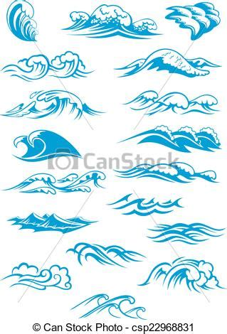 drawing a basic wave can be but after a while it can blue breaking waves nautical or marine themed set