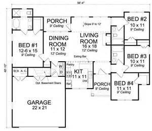 Traditional Open Floor Plans by 656179 4 Bedroom 3 Bath Traditional Cottage With Open