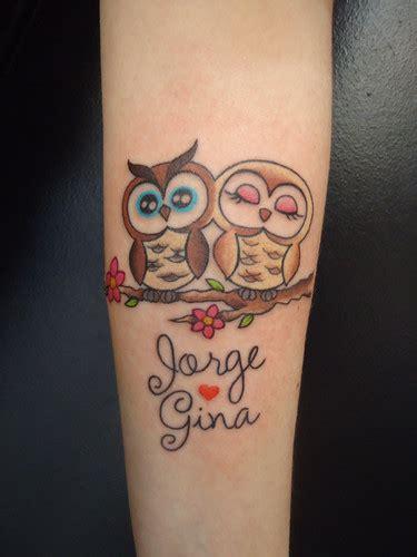 couple tattoo owl corujinhas scraum owl tattoos couple and grey