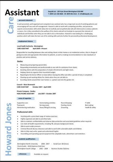 personal care assistant resume personal care assistant resume resume format