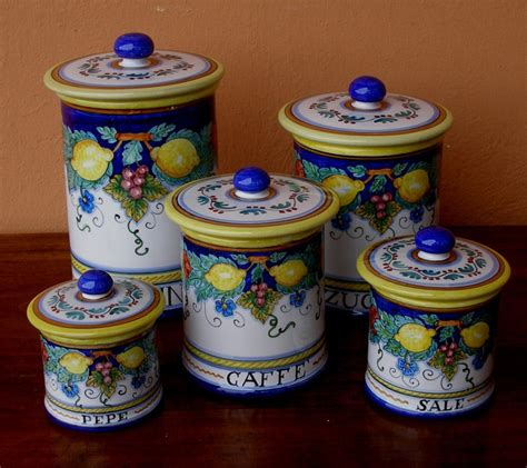 colored glass kitchen canisters luxurious 25 best ideas about italian pottery on