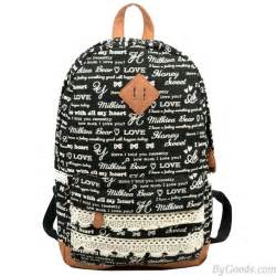 Cute letters trunks lace canvas backpackfashion backpacks be