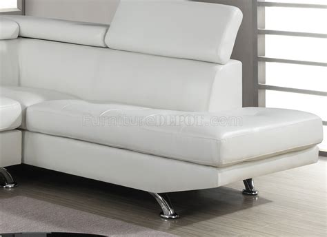 U9782 Sectional Sofa In White Bonded Leather By Global White Bonded Leather Sectional Sofa