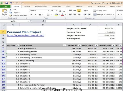 excel 2010 project plan template gantt chart excel 2010 personal project plan templategantt