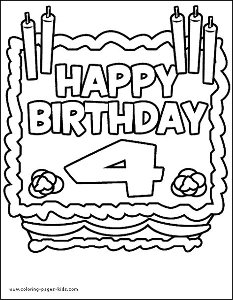 birthday coloring pages for 4 year olds birthday color page coloring pages for kids holiday