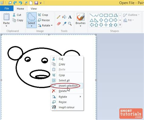 paint selection how to use invert selection option in ms paint windows 8