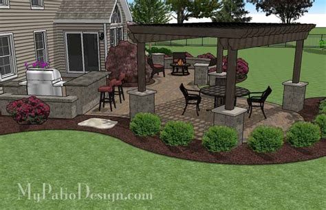 Backyard Patio Landscaping Ideas Pergola Covered Curvy Patio Tinkerturf