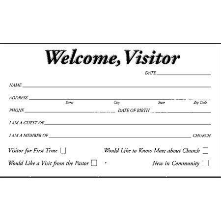 visitor card template free welcome card template for