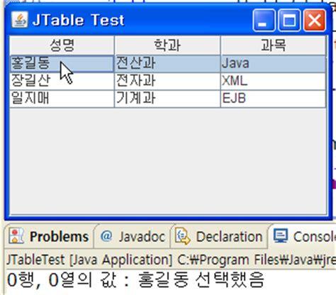 java swing event jtable 간단한 이벤트 처리 소스 네이버 블로그