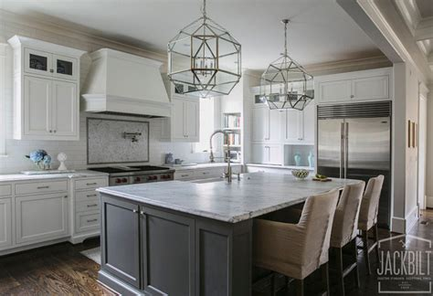 white kitchen with gray island white and gray kitchen designed by jackbilt homes home