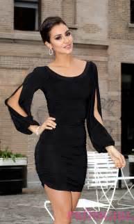 Long split sleeve short dresses black dress promgirl