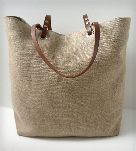 Independent Kitchen Designer linen and leather tote bag woven inactive bags