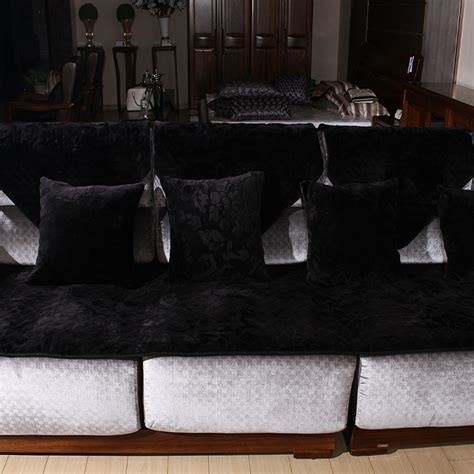 Black T Cushion Sofa Slipcover by Sofa Cover Velvet Sofa Cushion Plush High End Fashion