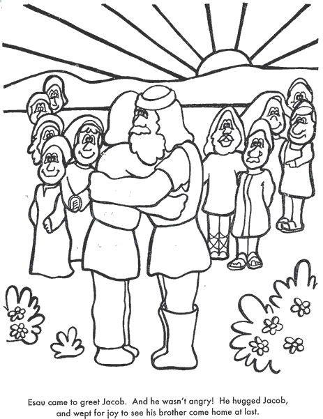coloring page jacob and esau old testament hebrew jewish bible kids coloring pages free