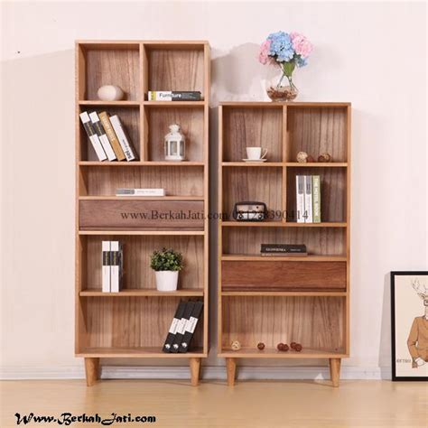 Rak Buku Kayu Minimalis rak buku minimalis kotak kayu jati berkah jati furniture